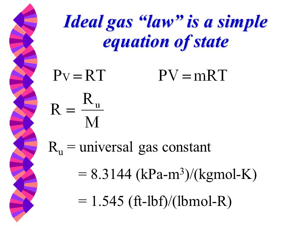 Ideal gas law is a simple equation of state