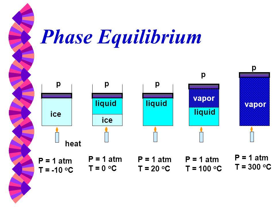Phase Equilibrium p p p p p vapor liquid liquid vapor liquid ice ice
