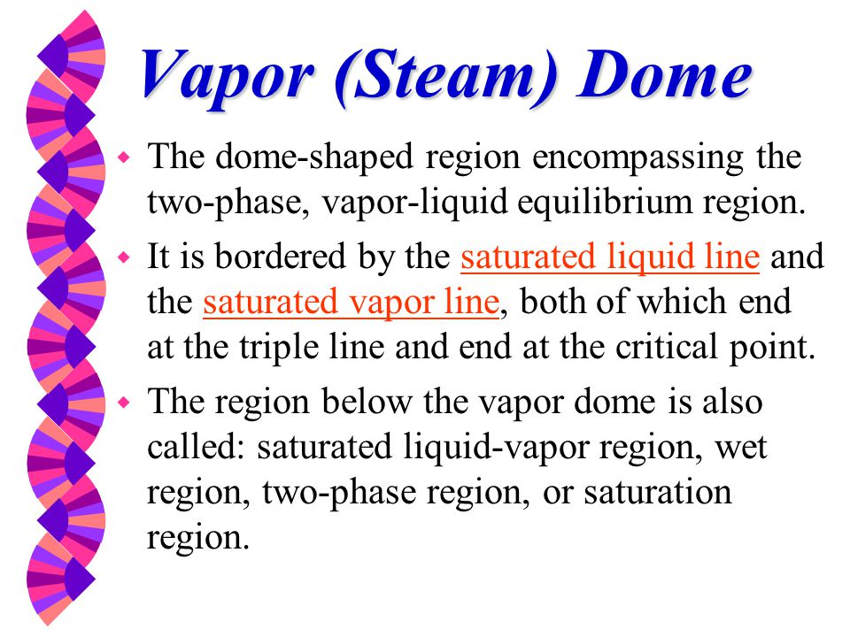 Vapor (Steam) Dome The dome-shaped region encompassing the two-phase, vapor-liquid equilibrium region.