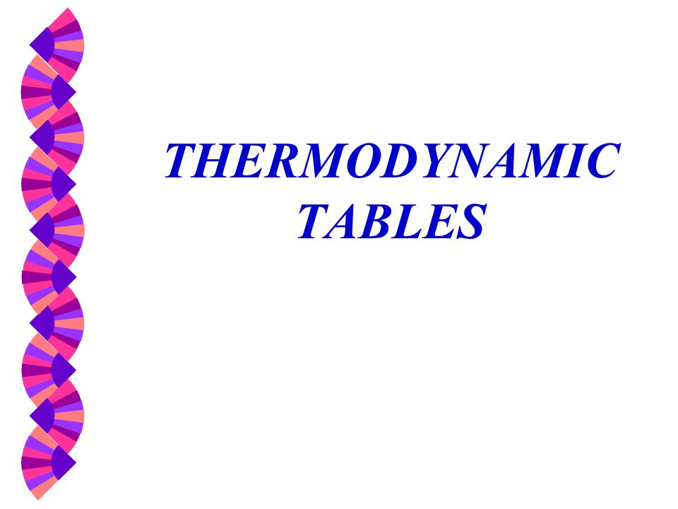 THERMODYNAMIC TABLES