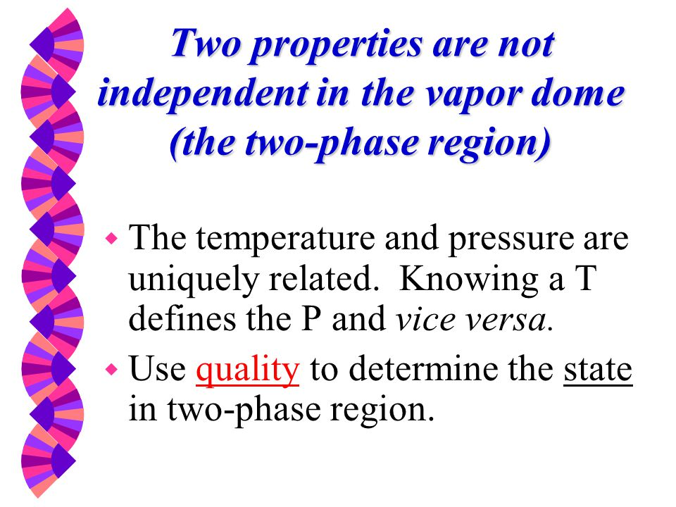 Two properties are not independent in the vapor dome (the two-phase region)