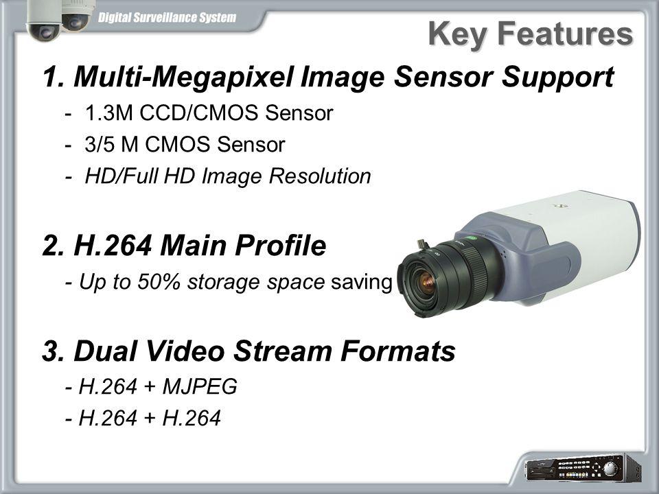 Key Features 1. Multi-Megapixel Image Sensor Support