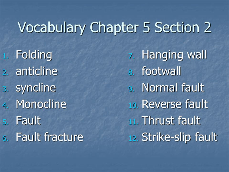 Vocabulary Chapter 5 Section 2