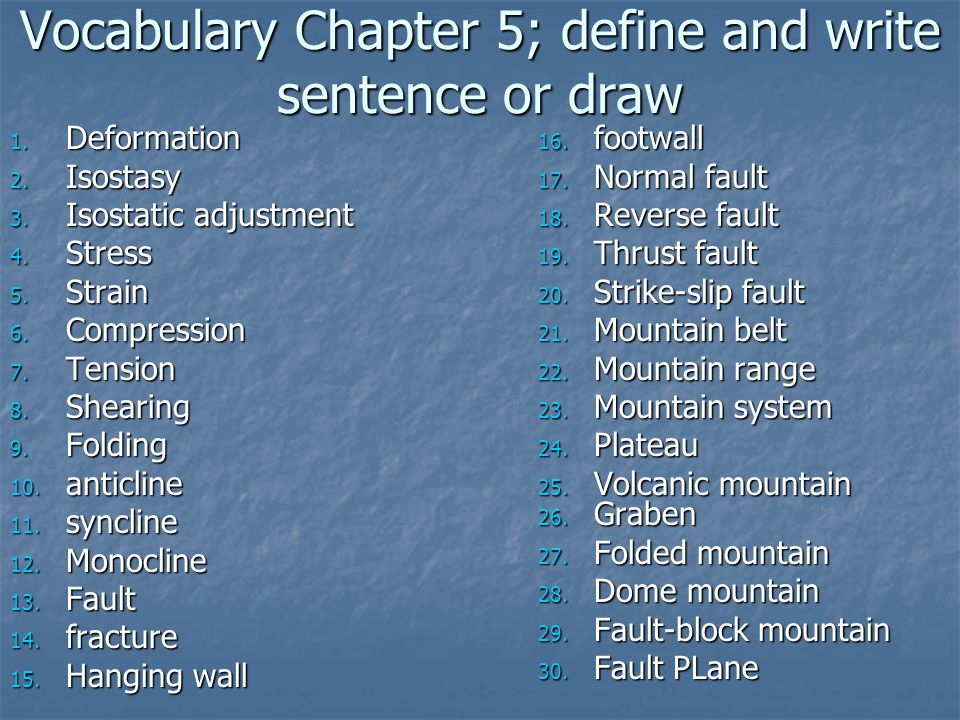Vocabulary Chapter 5; define and write sentence or draw