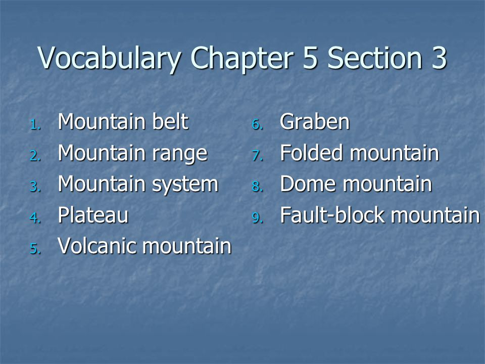 Vocabulary Chapter 5 Section 3