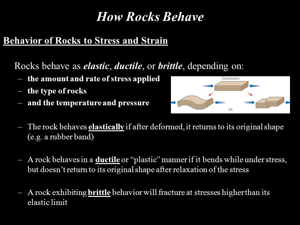 How Rocks Behave Behavior of Rocks to Stress and Strain