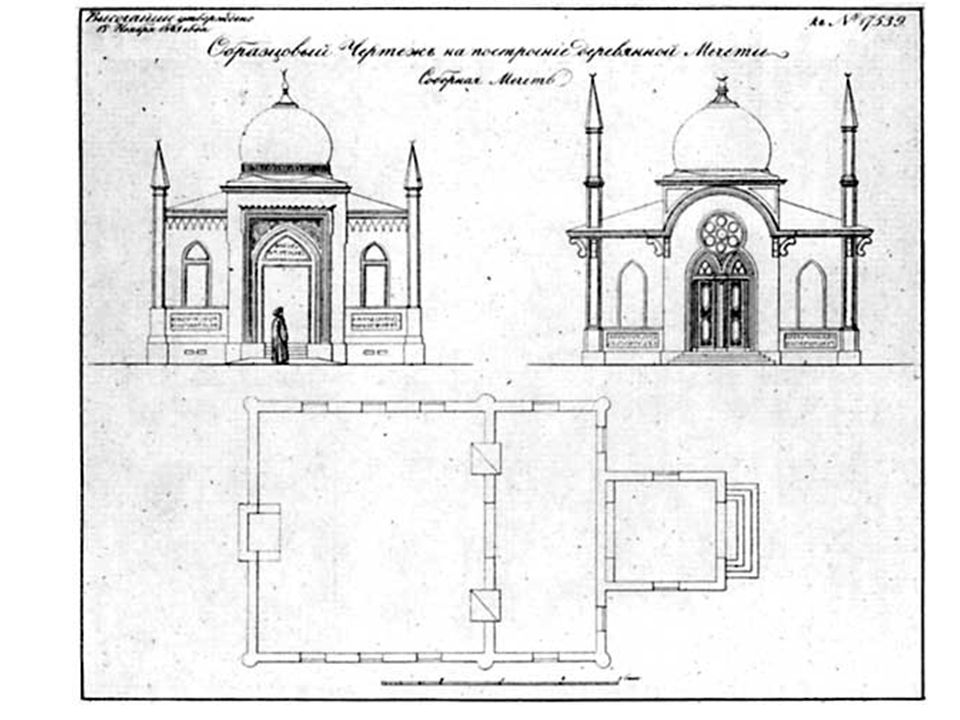 mihrab qibla wall --designates the direction of Mecca. iwan (barrel vaulted halls with wide-open, arched entrances) – associated with madrasas.