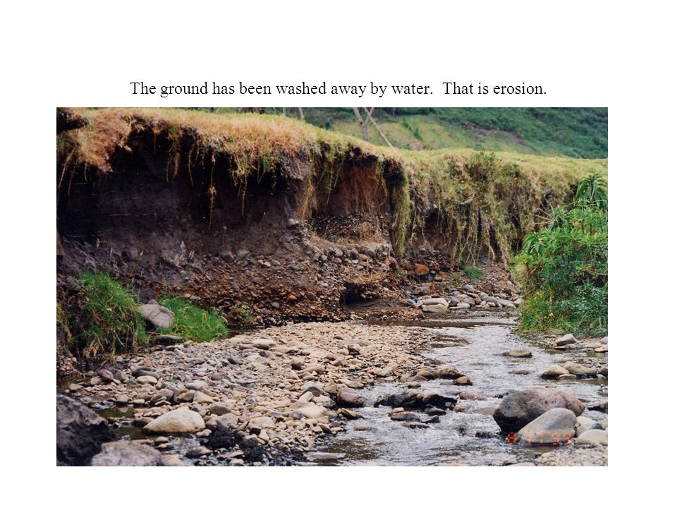 The ground has been washed away by water. That is erosion.