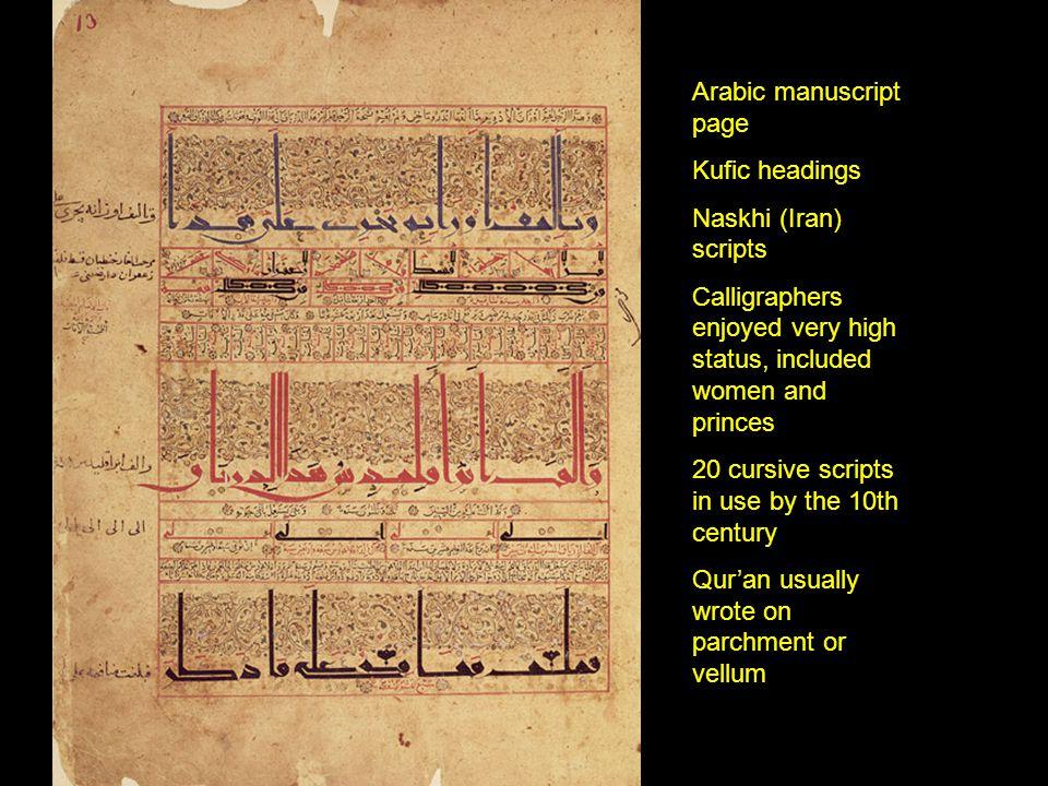 Arabic manuscript page Kufic headings Naskhi (Iran) scripts