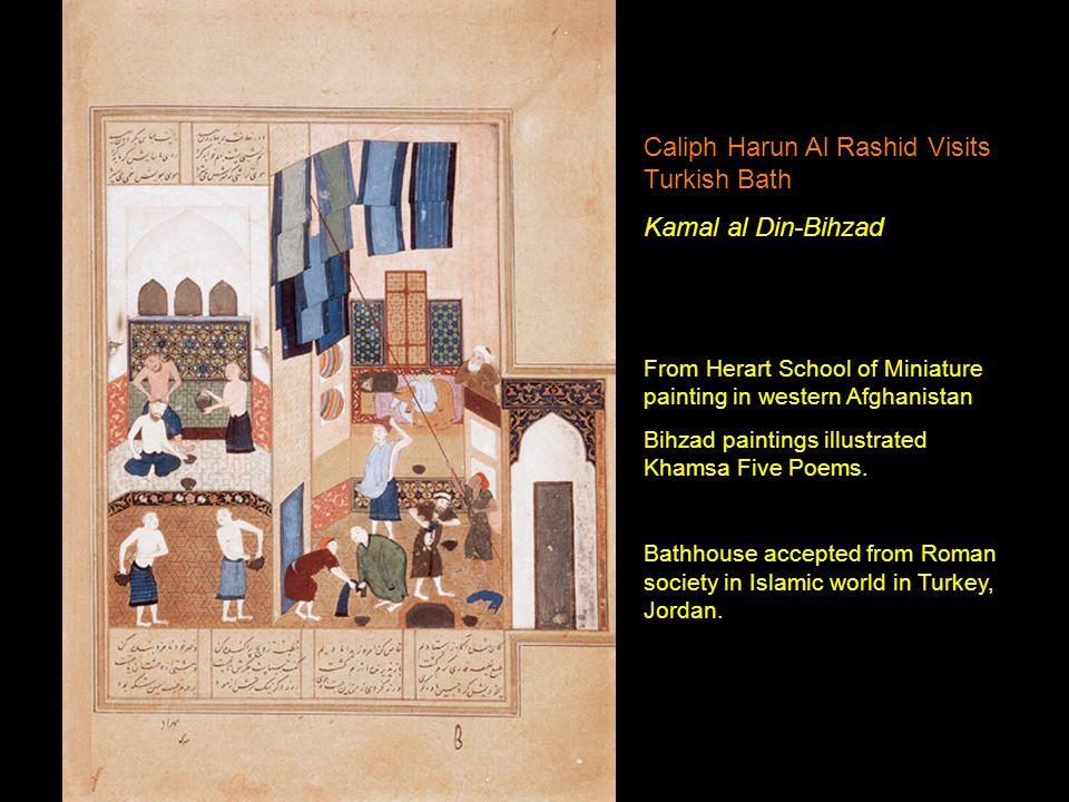 Caliph Harun Al Rashid Visits Turkish Bath Kamal al Din-Bihzad