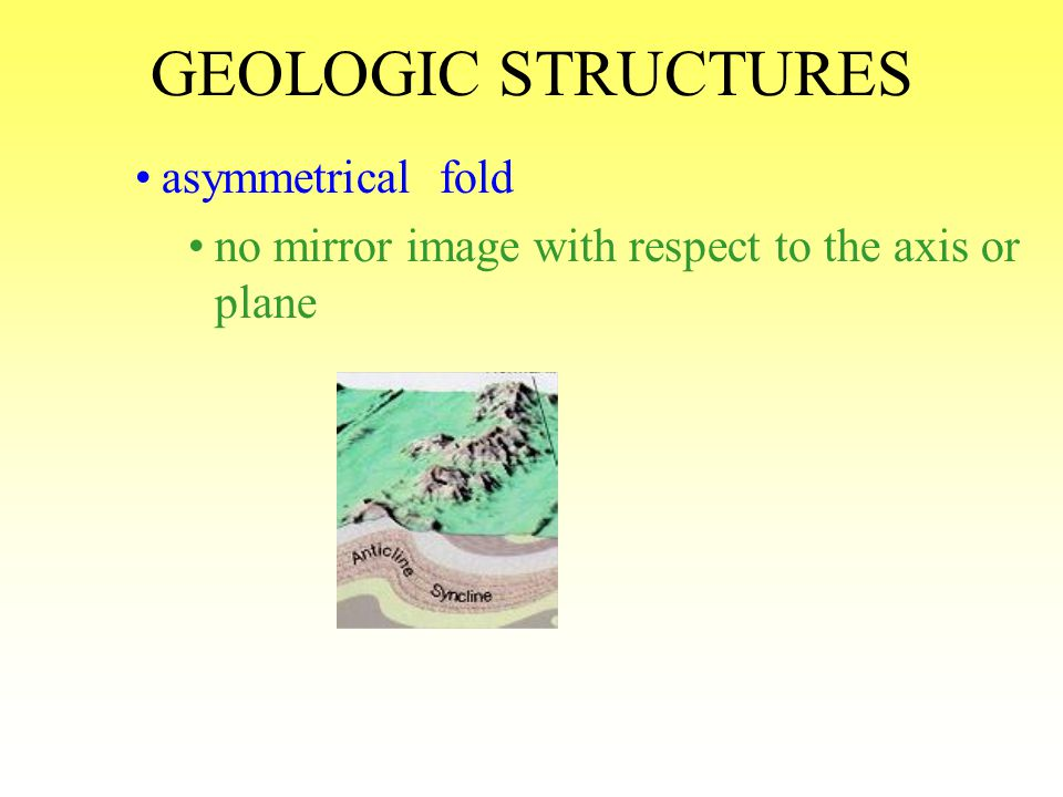 GEOLOGIC STRUCTURES asymmetrical fold