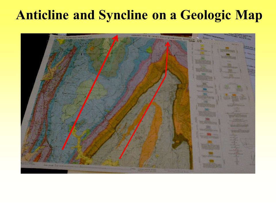 Anticline and Syncline on a Geologic Map