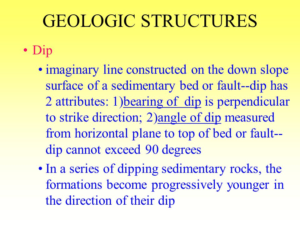 GEOLOGIC STRUCTURES Dip
