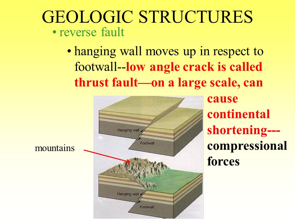 GEOLOGIC STRUCTURES reverse fault