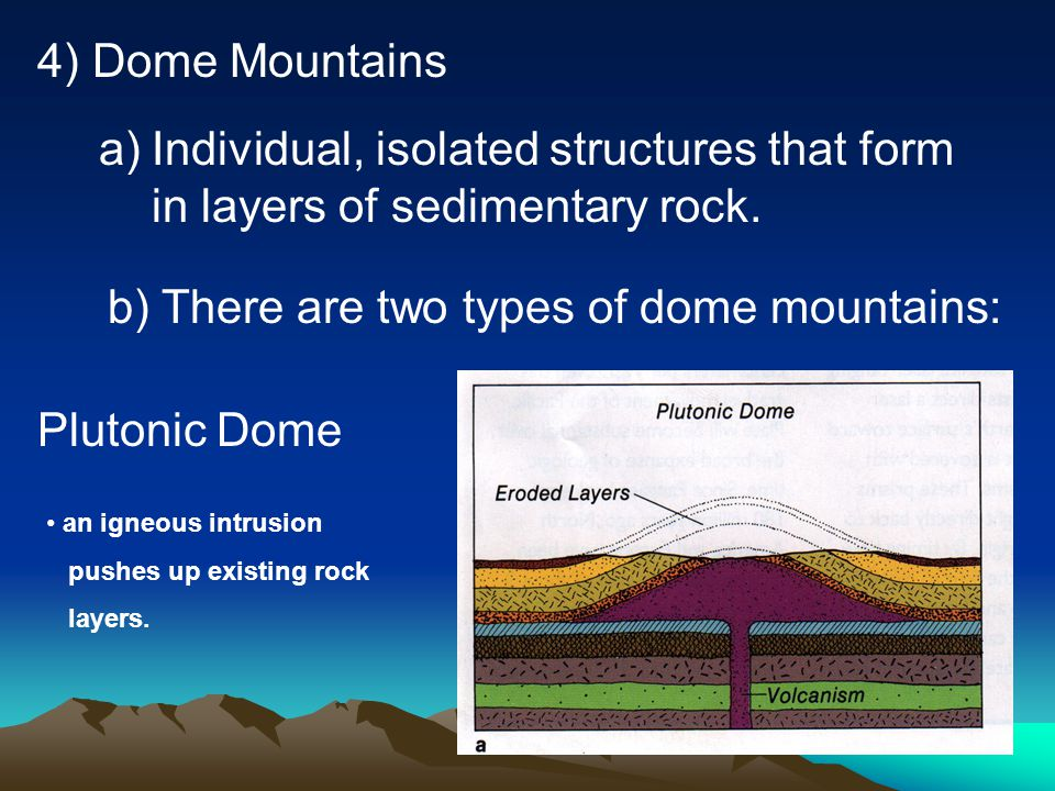 b) There are two types of dome mountains: