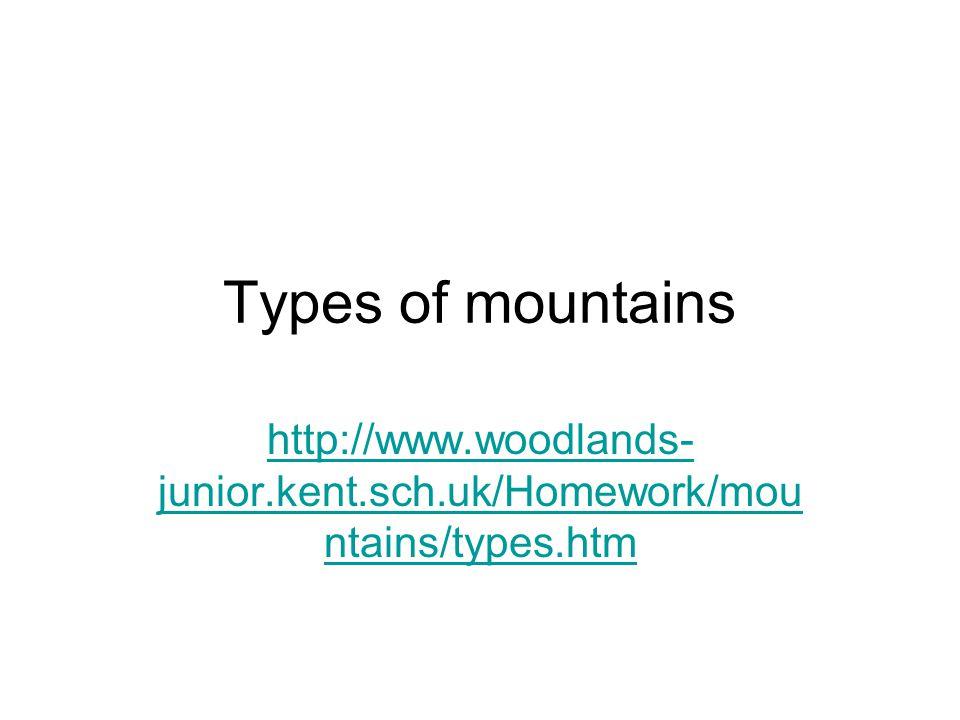 Types of mountains http://www.woodlands-junior.kent.sch.uk/Homework/mountains/types.htm