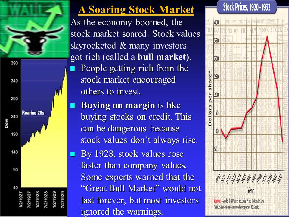 A Soaring Stock Market As the economy boomed, the stock market soared. Stock values skyrocketed & many investors got rich (called a bull market).