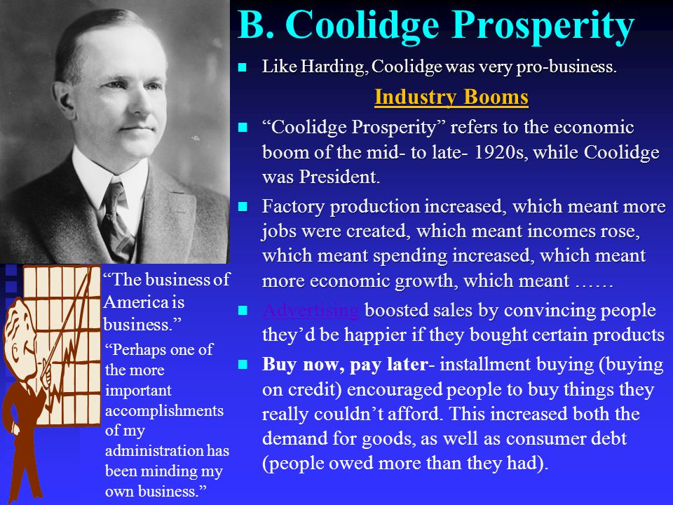 B. Coolidge Prosperity Industry Booms