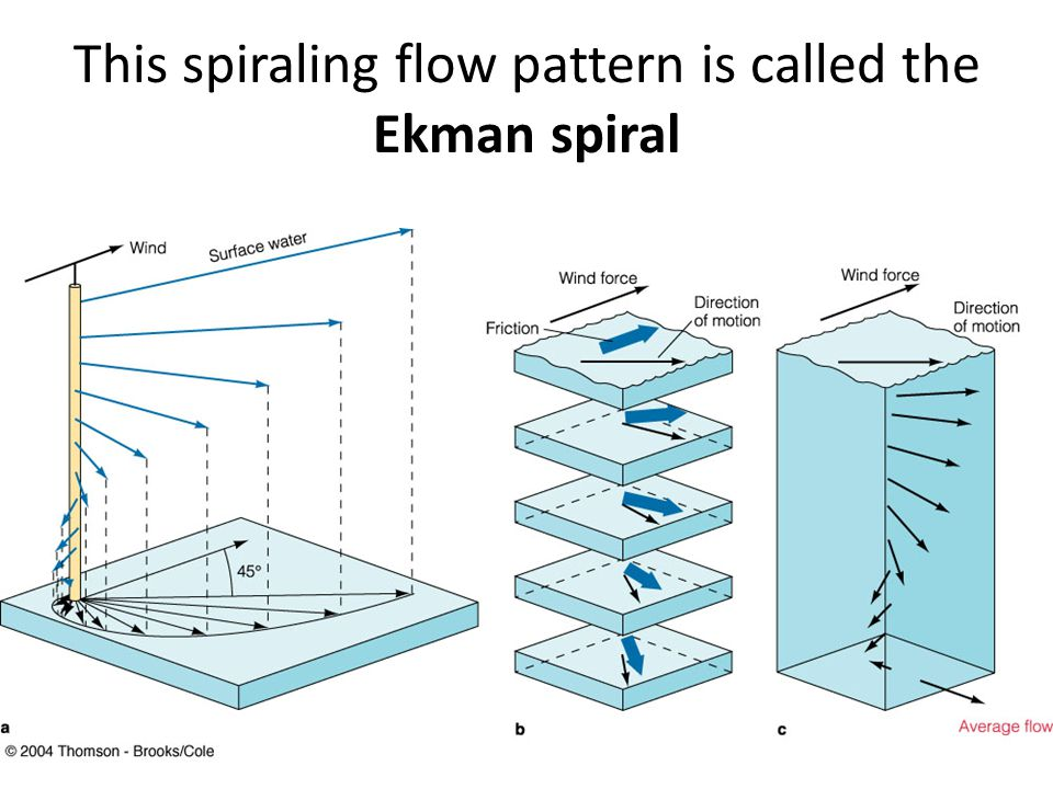 This spiraling flow pattern is called the Ekman spiral