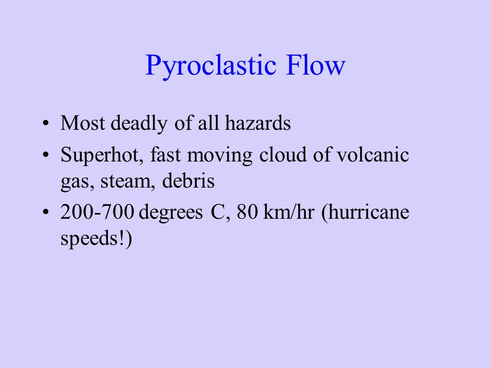 Pyroclastic Flow Most deadly of all hazards