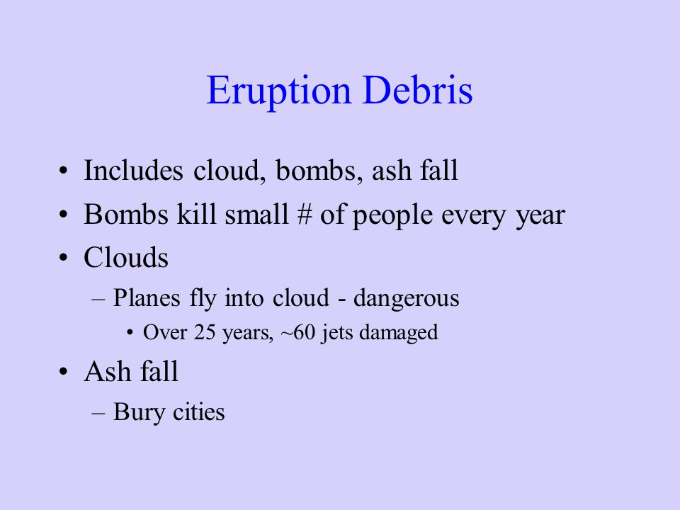 Eruption Debris Includes cloud, bombs, ash fall
