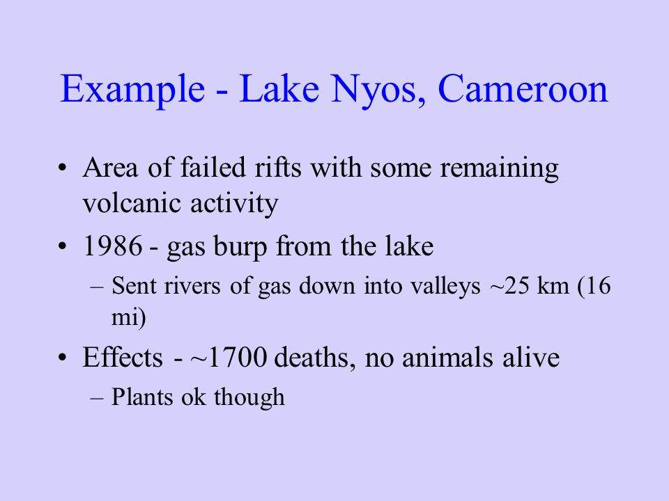 Example - Lake Nyos, Cameroon