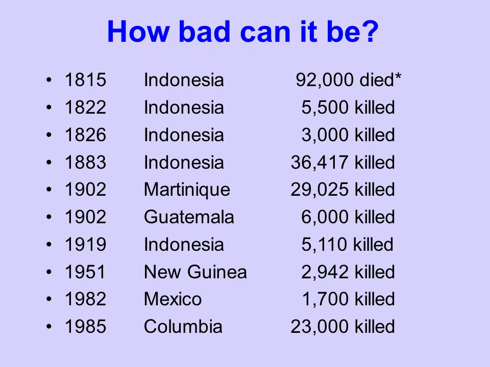 How bad can it be 1815 Indonesia 92,000 died*