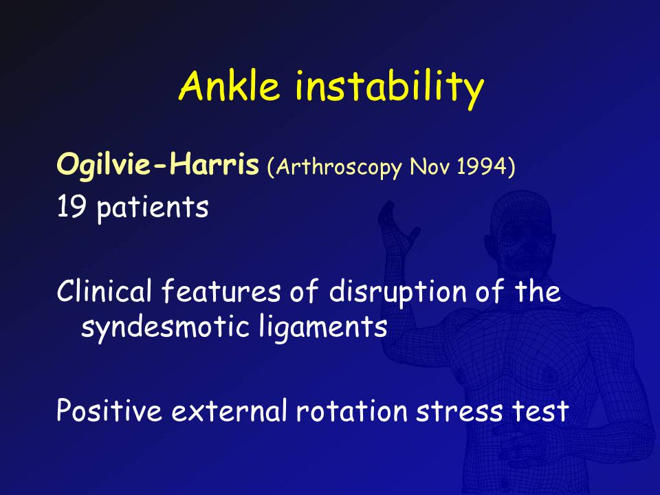 Ankle instability Ogilvie-Harris (Arthroscopy Nov 1994) 19 patients