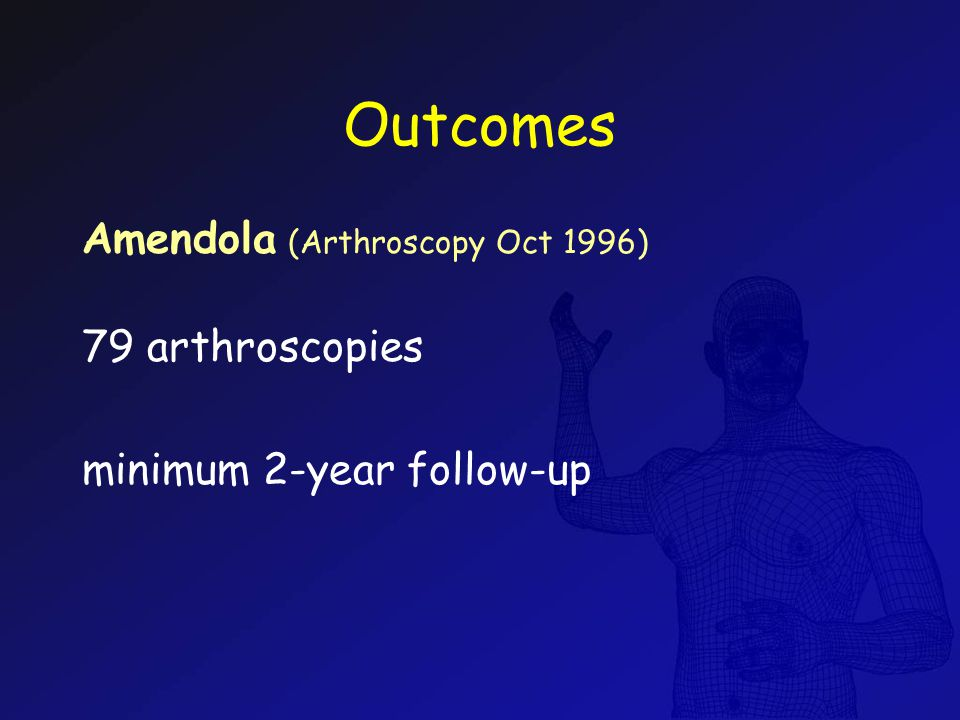 Outcomes Amendola (Arthroscopy Oct 1996) 79 arthroscopies