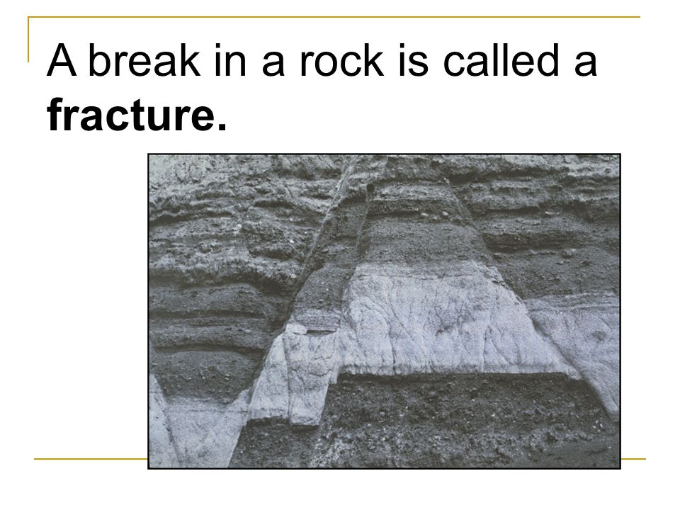 A break in a rock is called a fracture.