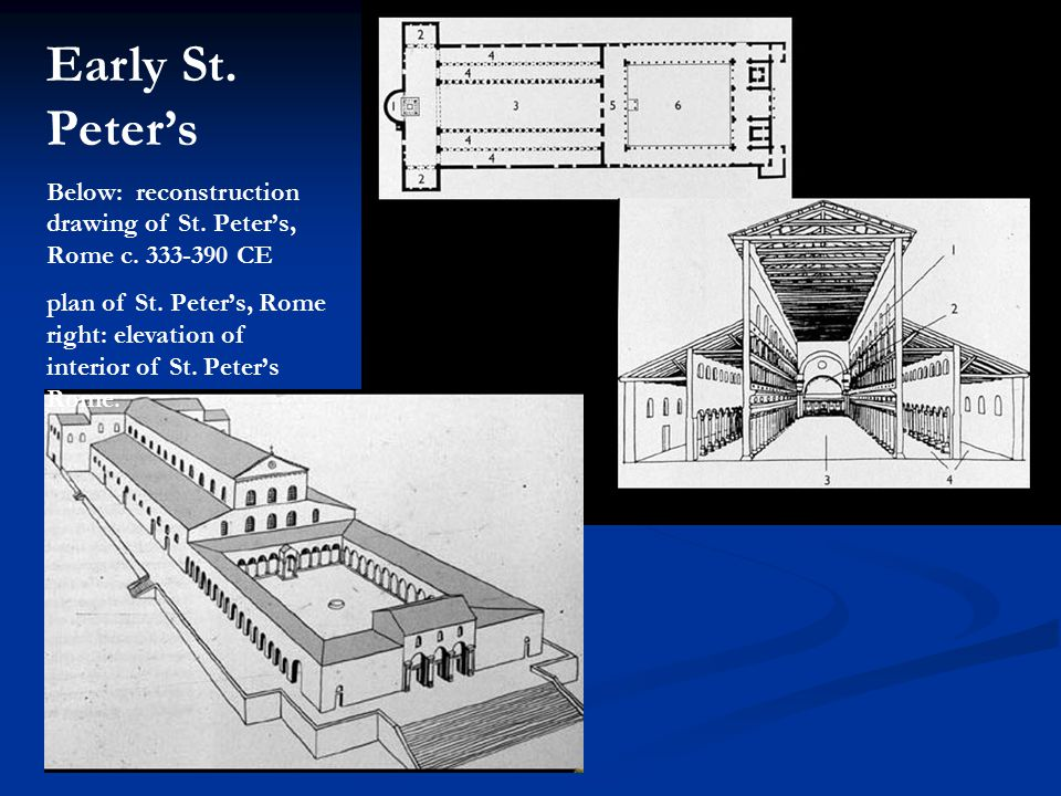 Early St. Peter's Below: reconstruction drawing of St. Peter's, Rome c. 333-390 CE.