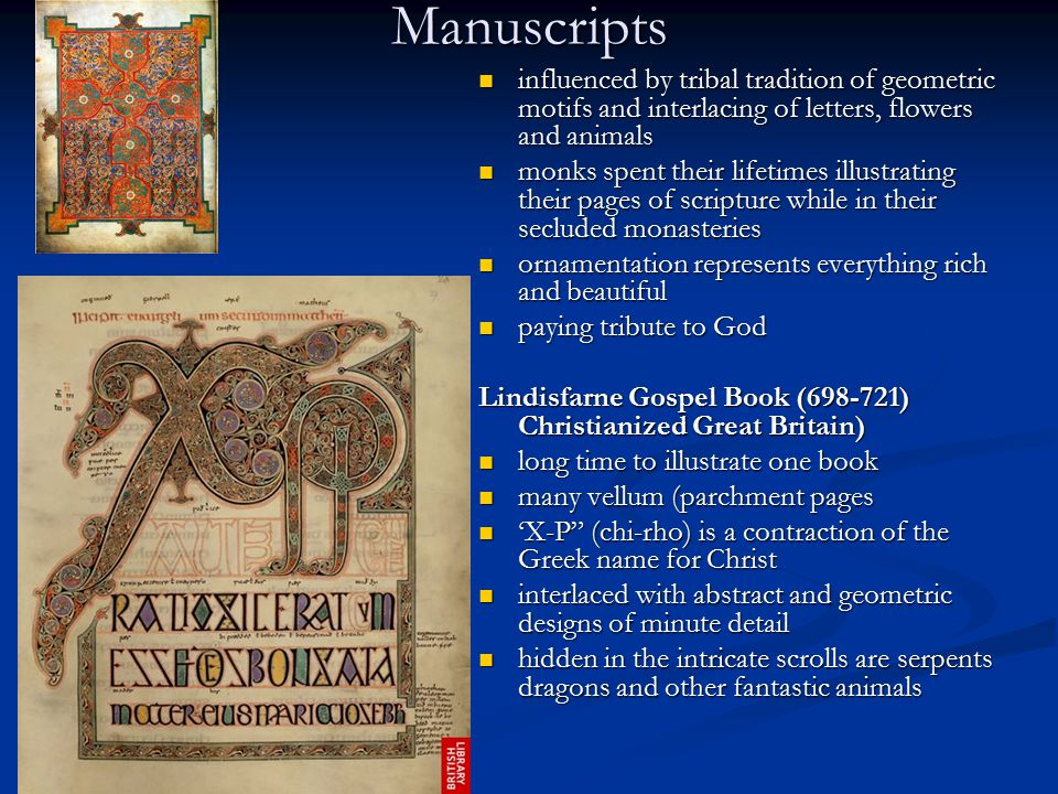 Manuscripts influenced by tribal tradition of geometric motifs and interlacing of letters, flowers and animals.