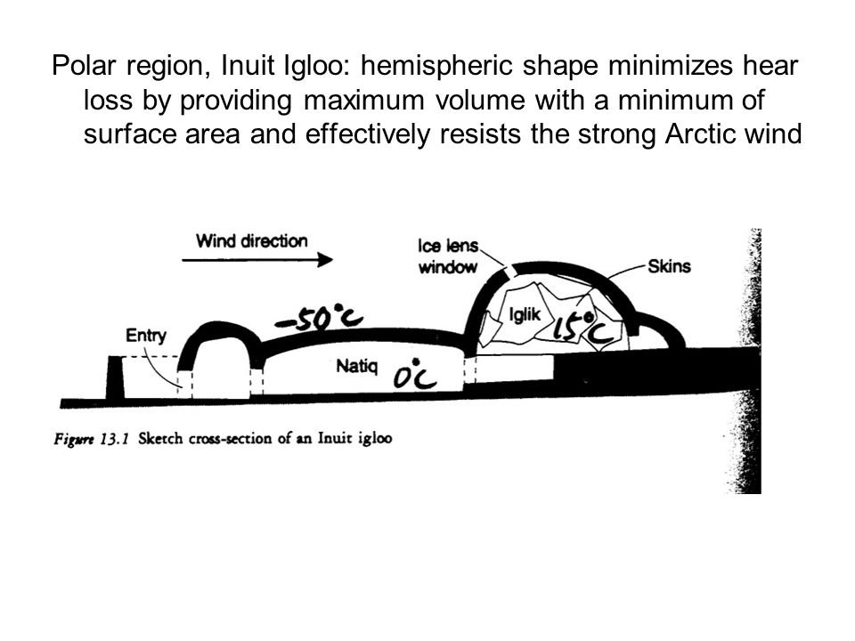 Polar region, Inuit Igloo: hemispheric shape minimizes hear loss by providing maximum volume with a minimum of surface area and effectively resists the strong Arctic wind