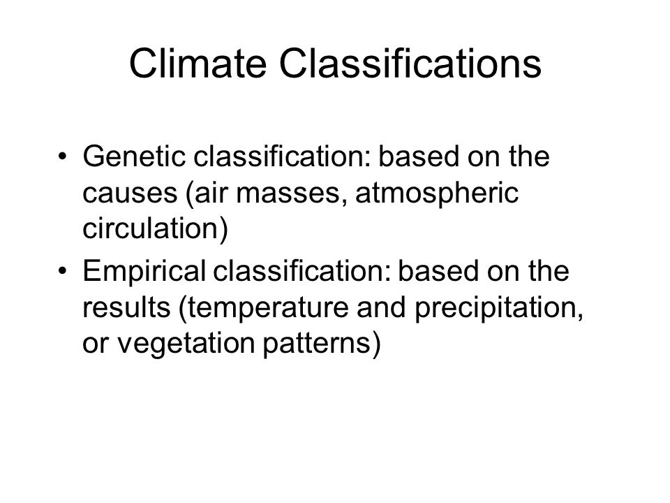 Climate Classifications