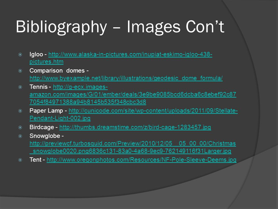 Bibliography – Images Con't