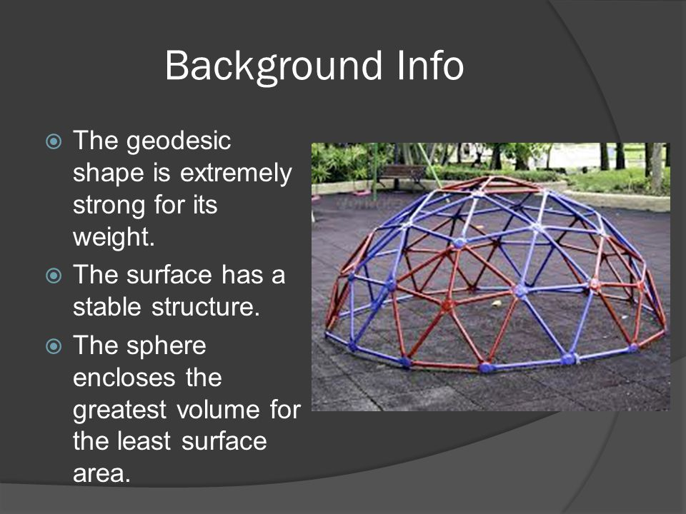 Background Info The geodesic shape is extremely strong for its weight.