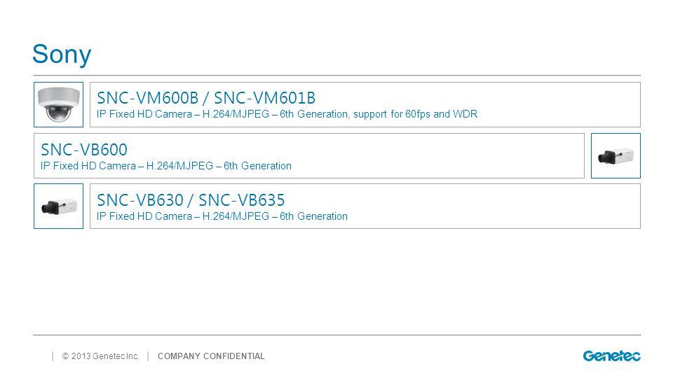 Sony SNC-VM600B / SNC-VM601B SNC-VB600 SNC-VB630 / SNC-VB635