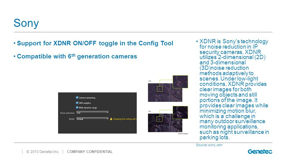 Sony Support for XDNR ON/OFF toggle in the Config Tool