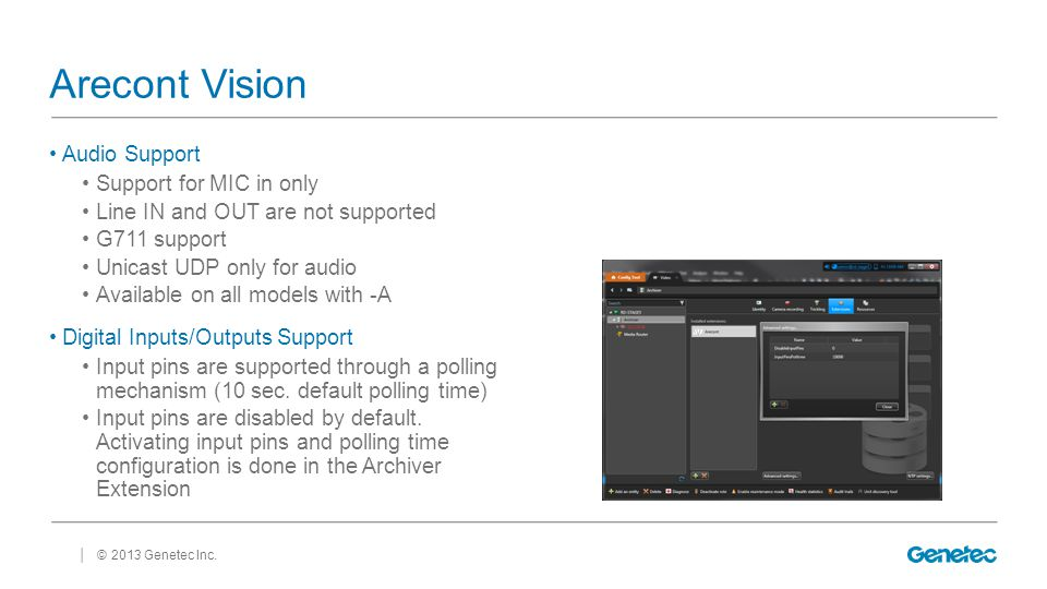 Arecont Vision Audio Support Support for MIC in only