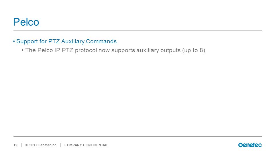 Pelco Support for PTZ Auxiliary Commands