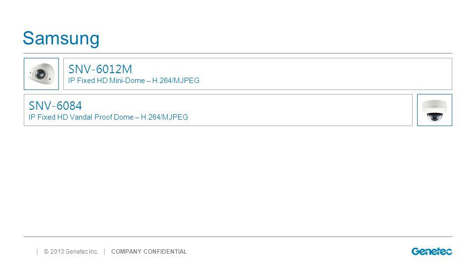Samsung SNV-6012M SNV-6084 IP Fixed HD Mini-Dome – H.264/MJPEG