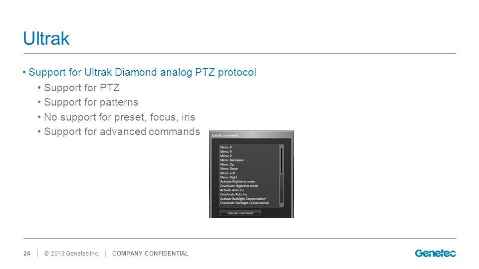 Ultrak Support for Ultrak Diamond analog PTZ protocol Support for PTZ