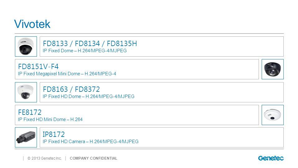 Vivotek FD8133 / FD8134 / FD8135H FD8151V-F4 FD8163 / FD8372 FE8172