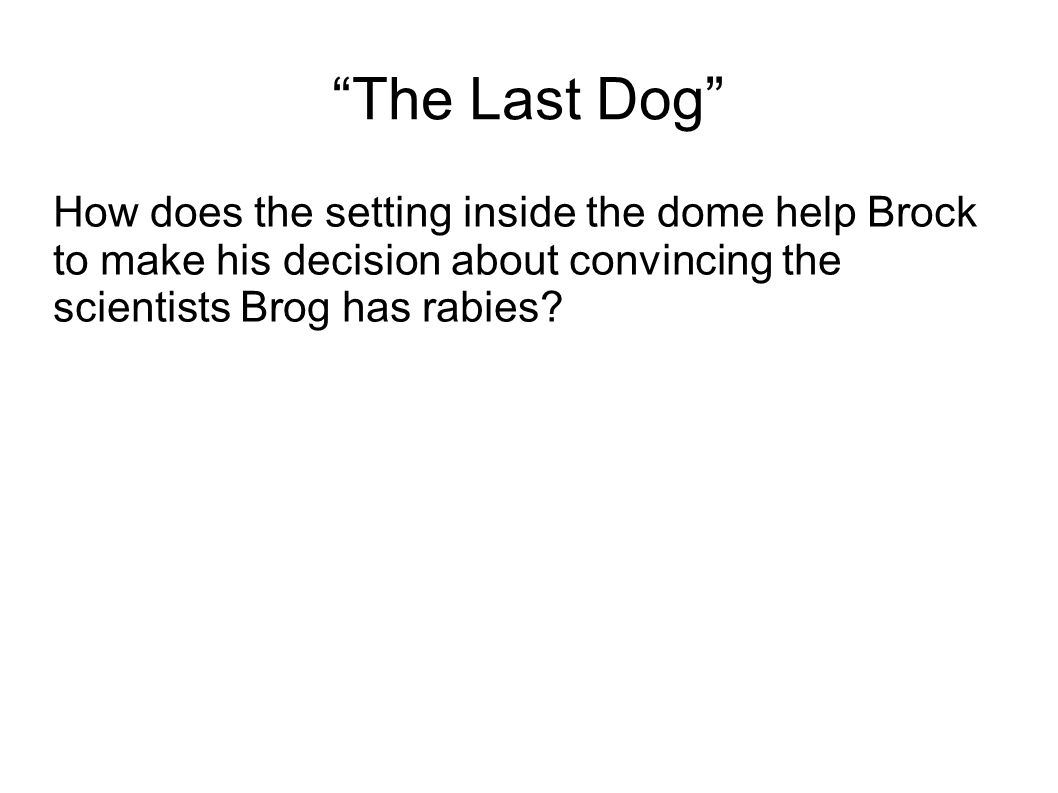 The Last Dog How does the setting inside the dome help Brock to make his decision about convincing the scientists Brog has rabies