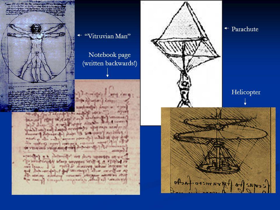 Parachute Vitruvian Man Notebook page (written backwards!) Helicopter
