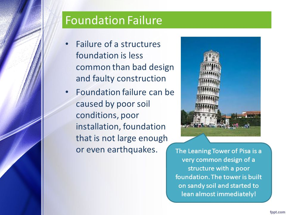 Foundation Failure Failure of a structures foundation is less common than bad design and faulty construction.