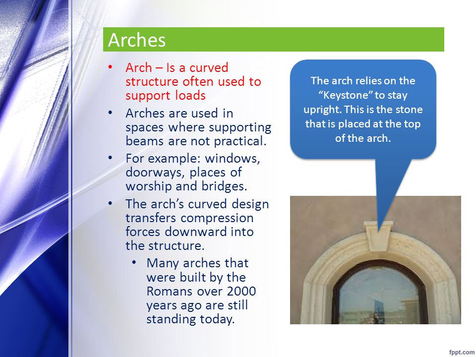 Arches Arch – Is a curved structure often used to support loads