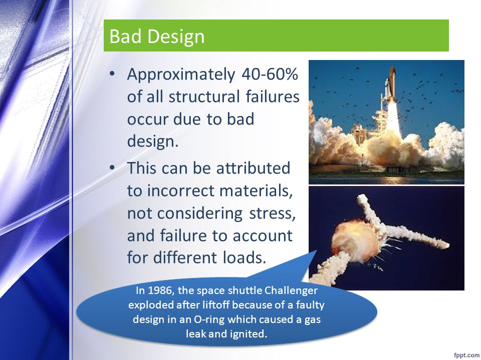 Bad Design Approximately 40-60% of all structural failures occur due to bad design.