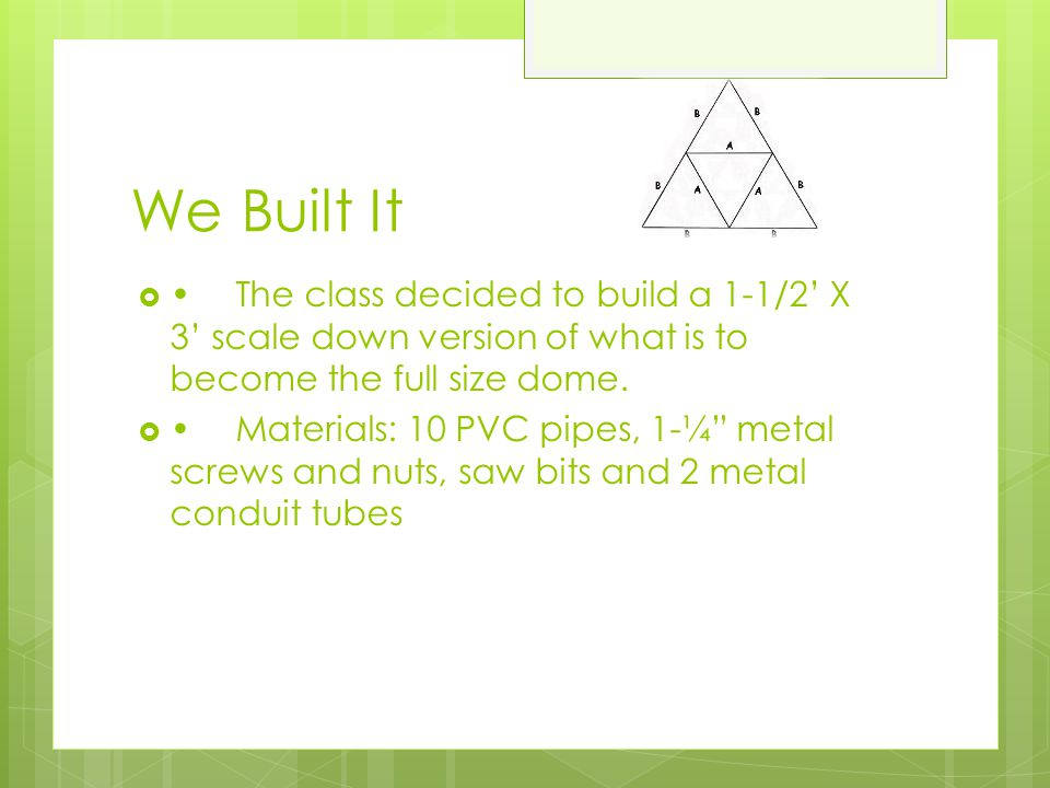 We Built It • The class decided to build a 1-1/2' X 3' scale down version of what is to become the full size dome.