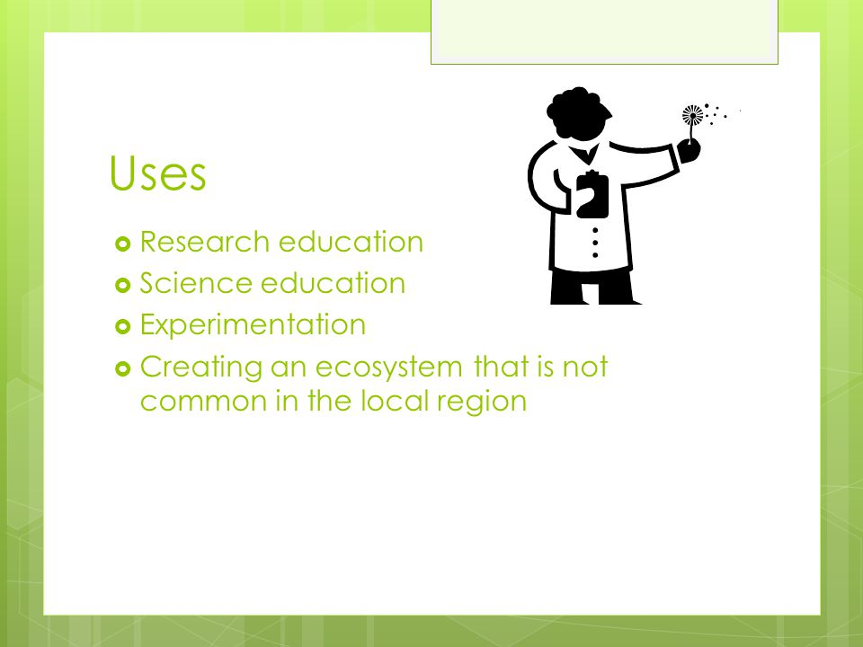 Uses Research education Science education Experimentation